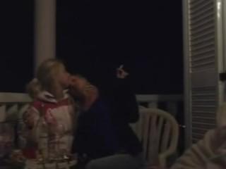 amateur lesbians smoking touching & kissing